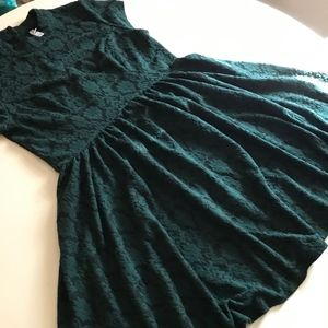 Dark Green and Black Fit and Flare Dress - L